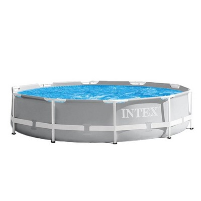 Intex 26701EH 10ft x 30in Prism Metal Frame Outdoor Above Ground Swimming Pool Set with 330 GPH Filter Pump and Easy Set-Up, fits up to 4 People