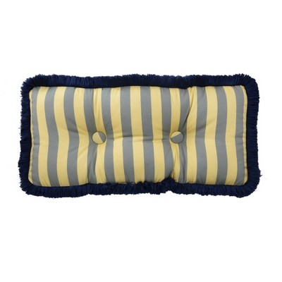 "Yellow Stripe Tufted Lumbar Pillow (12x26"") - Waverly"