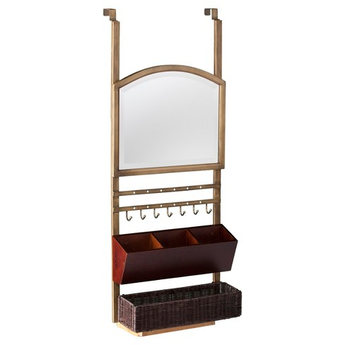 Candace Over-the-Door Organizer/ Mirror - Aged Gold - Aiden Lane - image 1 of 3