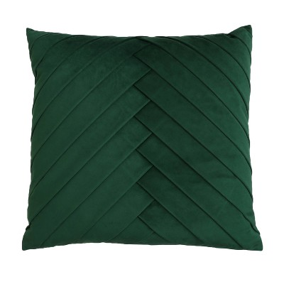 """20""""x20"""" Oversize James Pleated Velvet Square Throw Pillow Dark Green - Décor Therapy"""