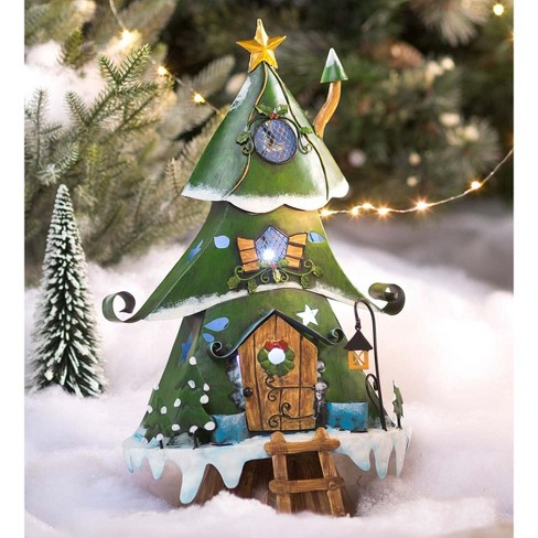 Christmas Hearth.Colorful Lighted Holiday Pillar Candle Holder With Auto Timer Plow Hearth