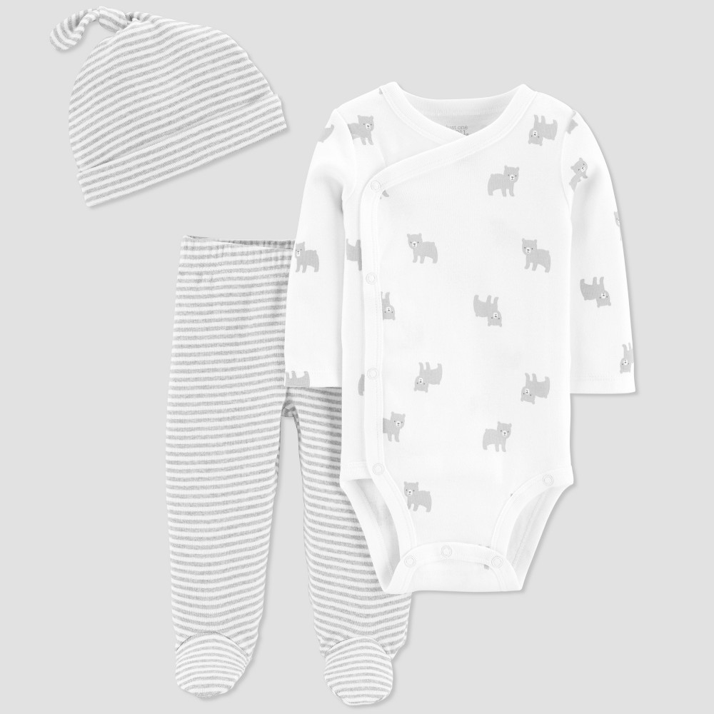 1c72b6ca30982 Baby Boys Top and Bottom Set Just One You made by carters White 3M Gray
