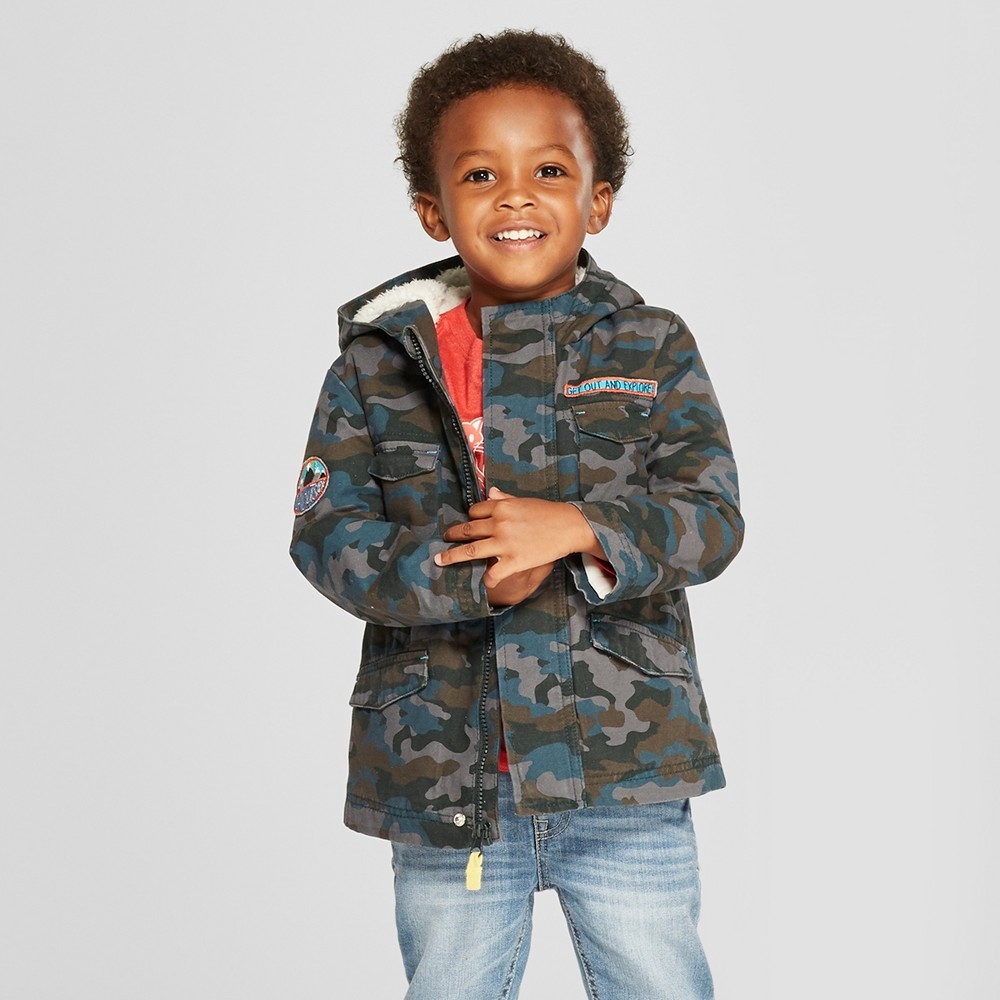 Toddler Boys' Camouflage Parka - Cat & Jack Blue 2T, Multicolored