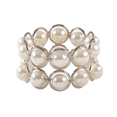 Ivory Faux Pearl Beaded Design Wedding Special Napkin Ring Set of 4 - Saro Lifestyle