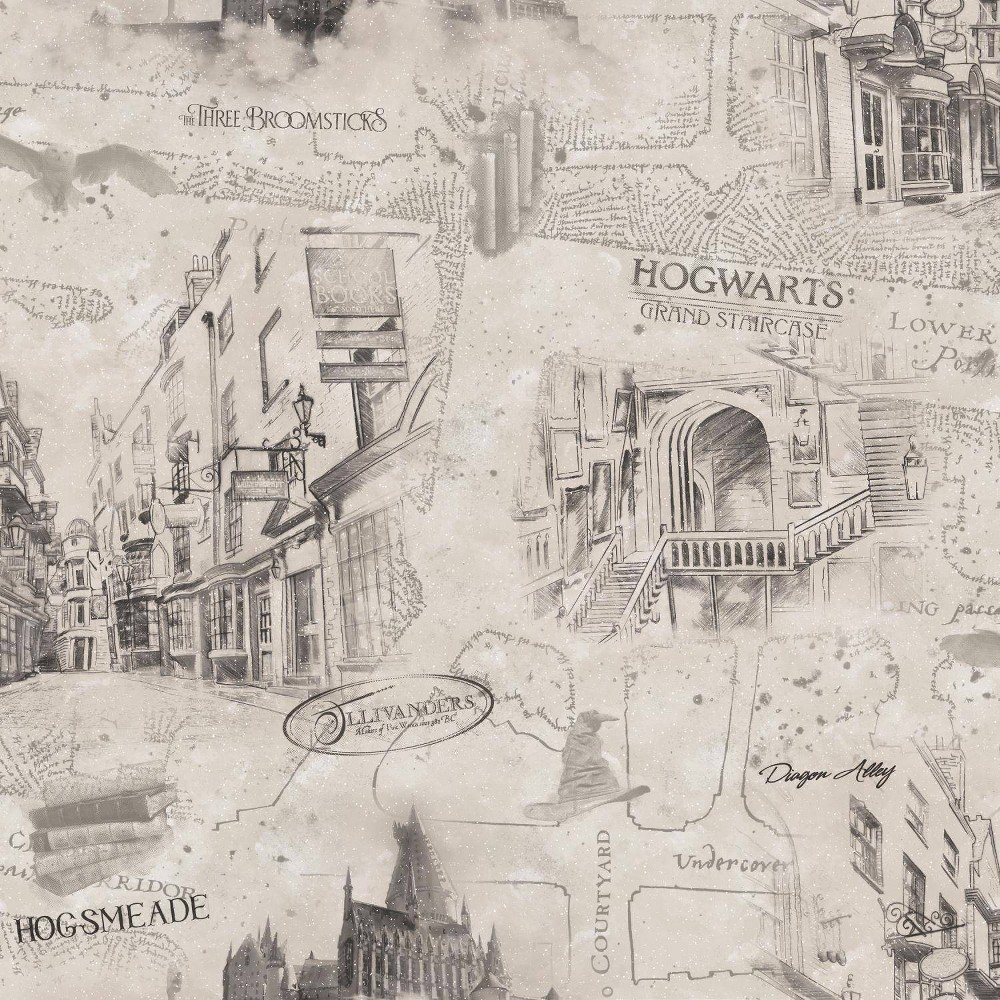 Image of Rommates Harry Potter Map Peel & Stick Wallpaper