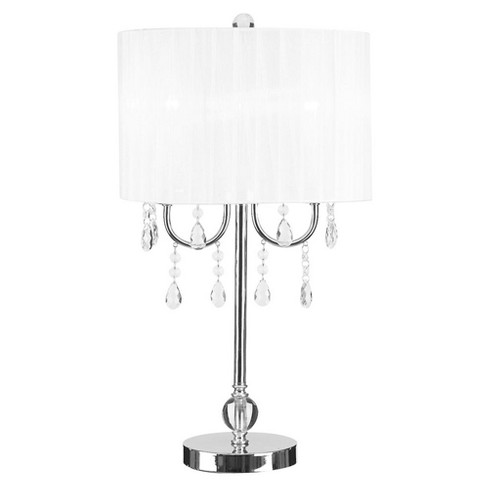 Glam Chandelier Acrylic Accent Table Lamp White Cresswell Lighting