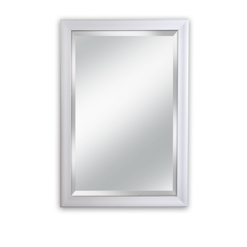 28 5 X 40 5 Lakeside Contoured White Framed Beveled Glass Wall Mirror Alpine Art And Mirror