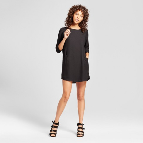 Women's Front Pocket Shift Dress - Éclair® Black - image 1 of 2