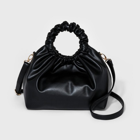 Accessories Black Large Scrunch Hobo Handbag