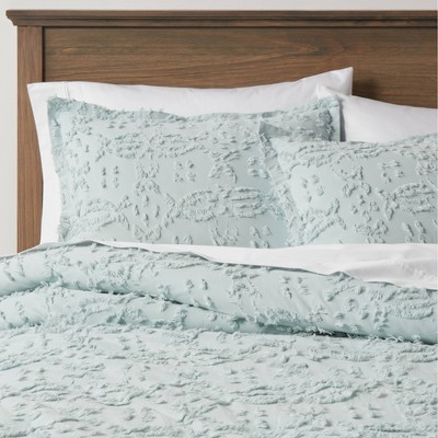 Full/Queen Clipped Chenille Comforter & Sham Set Light Aqua - Threshold™