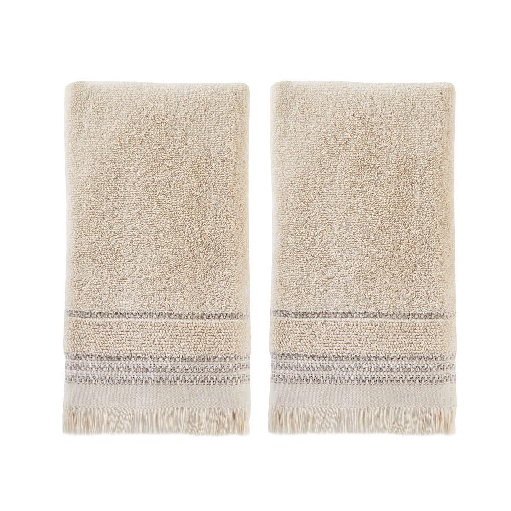 Image of 2pc Jude Fringe Hand Towel Set Dark Taupe - Saturday Knight Ltd.