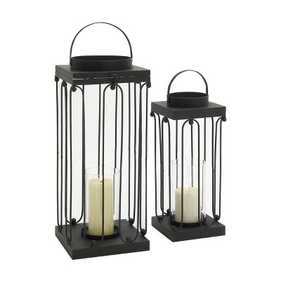 Set of 2 Modern Tin/Glass Open Design Candle Holders - Olivia & May