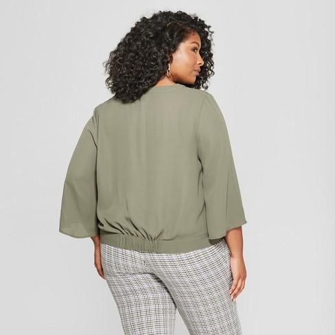 Womens Plus Size Wrap Front Short Sleeve Top Ava Viv Target