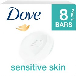 Dove Sensitive Skin Unscented Beauty Bar Soap - 3.75oz/8ct