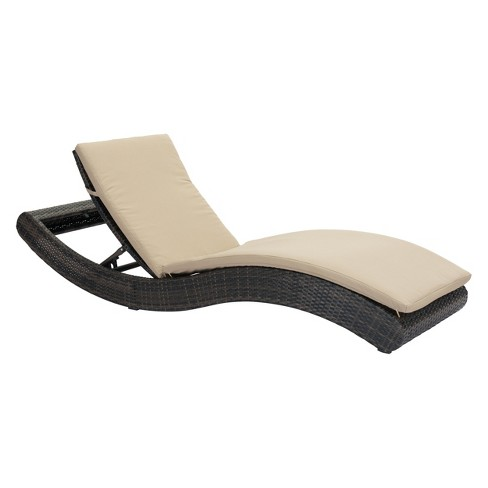 Modern Low Profile Chaise Lounge Brown Beige