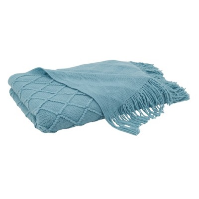 """50""""x60"""" Solid Color Throw With Knitted Design - SARO : Target"""