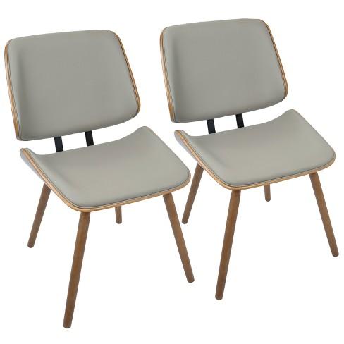 51e7ddb0b4c54 Lombardi Mid Century Modern Dining Accent Chair Walnut Gray Faux ...