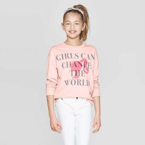 "Girls' Barbie 60th Anniversary ""Girls Can Change the World"" Sweater - Light Pink - image 1 of 3"
