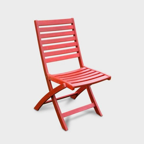 Prime 2Pk Acacia Wood Folding Ladder Back Patio Chair Red International Caravan Gmtry Best Dining Table And Chair Ideas Images Gmtryco