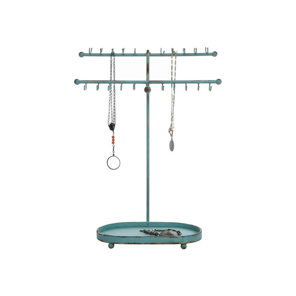 Jewelry Stand - Aqua (Blue) - 3R Studios Whether it's your prized pearl necklace or your favorite '80s inspired hoop earrings, this Aqua Jewelry Stand from 3R Studios is just what you need to keep your jewelry out of knots or entanglements and perfectly organized. This worthy-of-display jewelry stand is elegant and boasts pretty aqua color. Gorgeous and one-of-a-kind, this stand will help you hang all your jewelry in style! Gender: Female. Age Group: Adult.