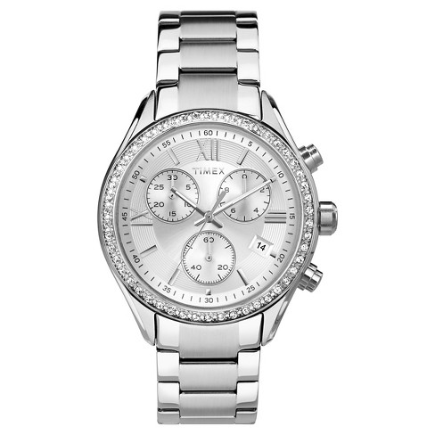 Women's Timex Chronograph Watch with Crystal Bezel - Silver TW2P668002B - image 1 of 1