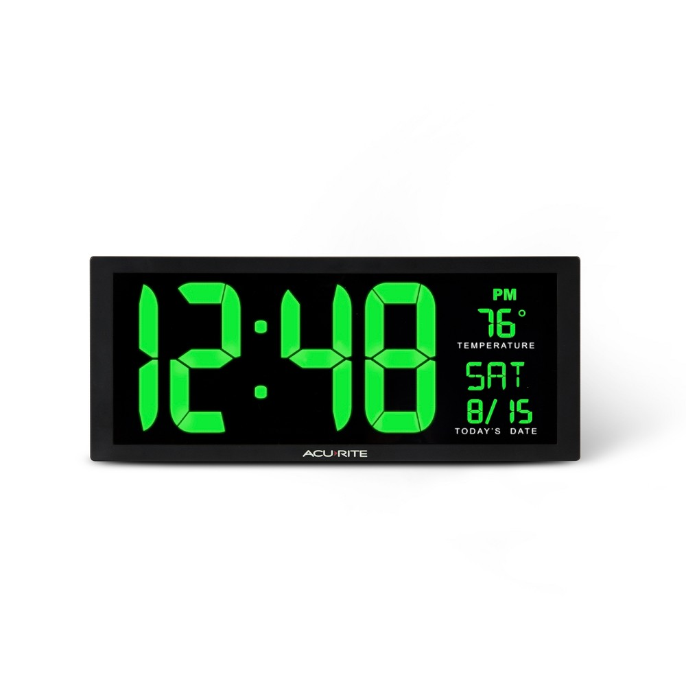Image of 14.5 Digital Clock with Indoor Temperature Green - AcuRite