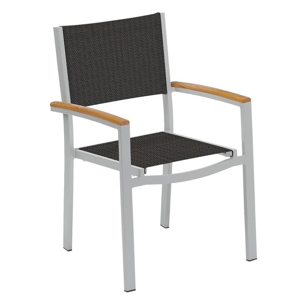 Travira Set of 2 Patio Dining Chairs - Ninja Sling - Powder Coated Aluminum Frame - Tekwood Natural Armcaps - Oxford Garden, Ninja Sling/Natural Tekwood Armcaps