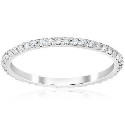 Pompeii3 1/2 Ct Diamond Eternity Wedding Stackable Ring 14K White Gold 1.7mm Wide