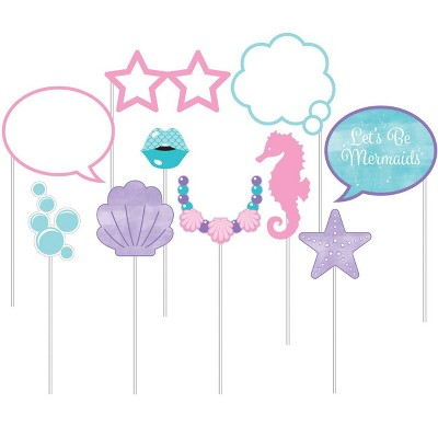 10ct Mermaid Print Party Photo Booth props
