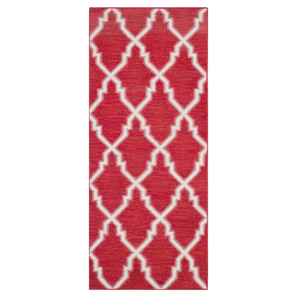 Check price Dakhla Dhurry Rug - Red Ivory - (26x10) - Safavieh