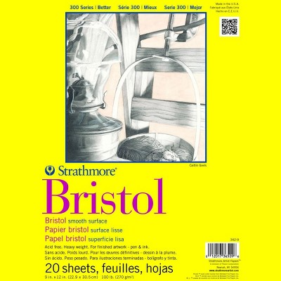 Strathmore 300 Series Smooth Bristol Pad, 9 x 12 Inches, 100 lb, 20 Sheets