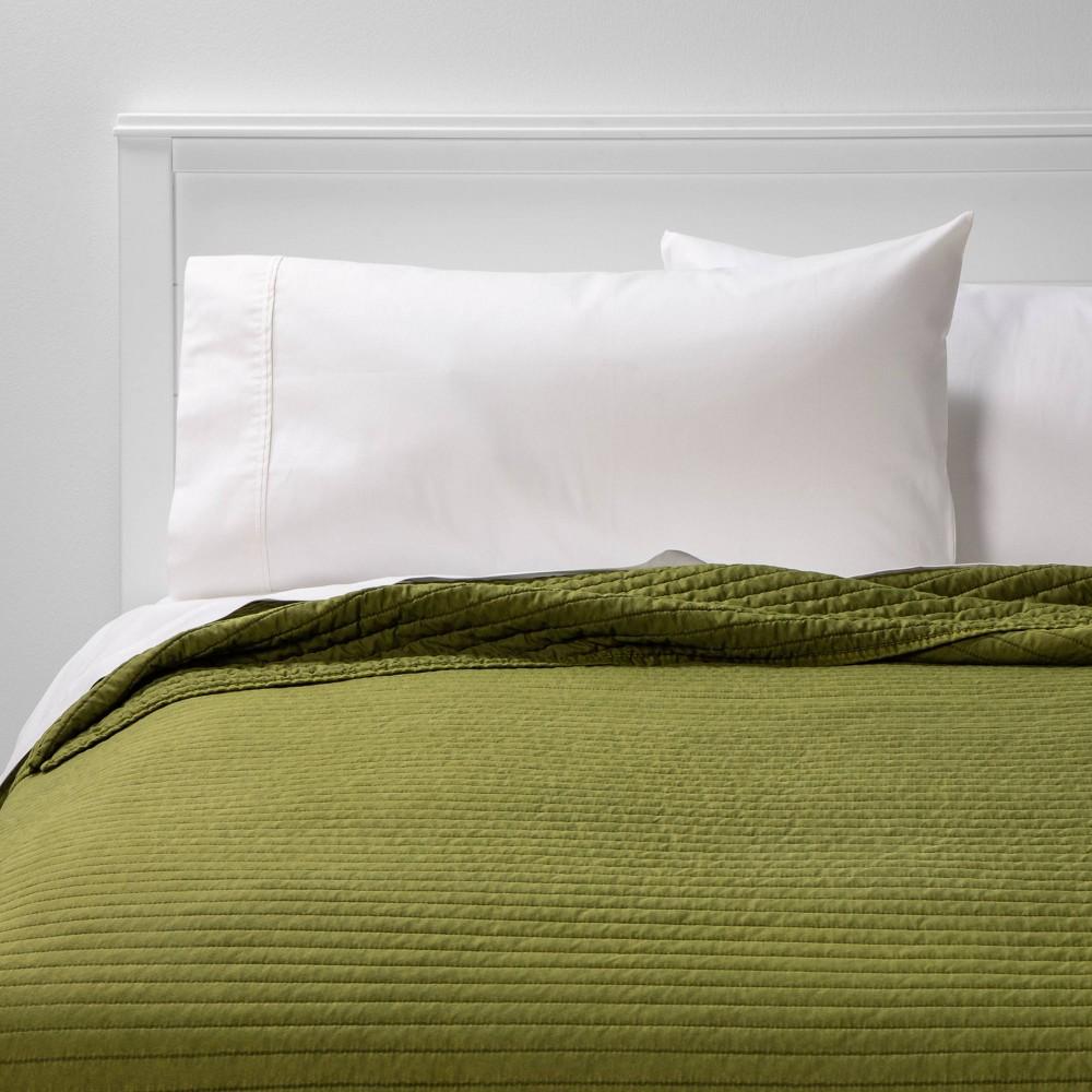 King Garment Washed Microfiber Quilt Olive - Room Essentials