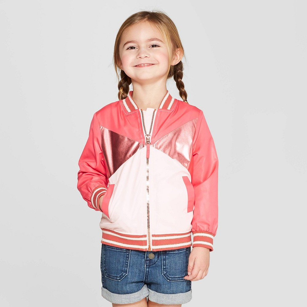 Genuine Kids from OshKosh Toddler Girls' Bomber Jacket - Red/White 4T, Orange