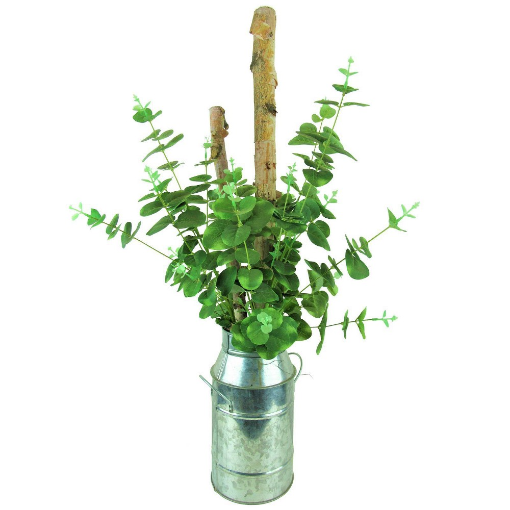 "Image of ""26"""" x 12"""" Artificial Eucalyptus and Birch in Milk Can Green - LCG Florals"""