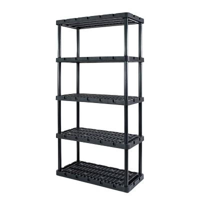 Gracious Living 91086-1C 18x36x72 Inch Knect A Shelf Fixed Height Heavy Duty Interlocking Ventilated Home, Garage Storage 5 Tier Shelving Unit, Black
