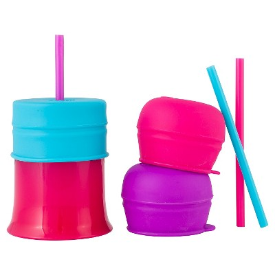 Boon Snug Straw Universal Silicone Straw Lids and Cup, Pink