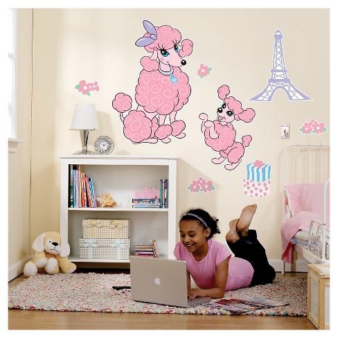 pink poodle in paris wall decal : target