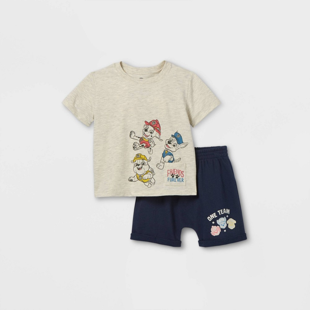 Toddler Boys 39 Paw Patrol Short Sleeve French Terry Top And Bottom Set Cream 4t