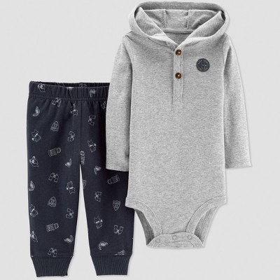 Baby Boys' 2pc Hooded Set - Just One You® made by carter's Gray Newborn