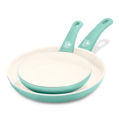 """GreenLife Soft Grip Ceramic Non-Stick Open Frypan 7""""x10"""" Turquoise"""
