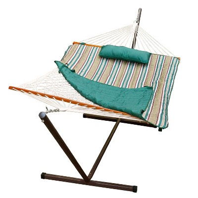 12' Cotton Rope Hammock, Stand, Pad and Pillow Combination - Teal - Algoma