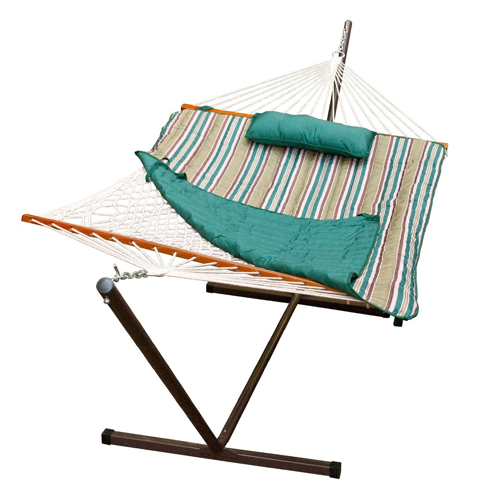 Image of 12' Cotton Rope Hammock, Stand, Pad and Pillow Combination - Teal - Algoma, Brown Blue