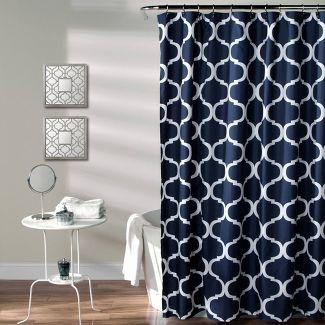 Geo Shower Curtain Navy - Lush Décor