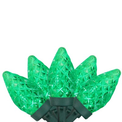 Brite Star 50ct Faceted LED C7 String Lights Green - 16' Green Wire