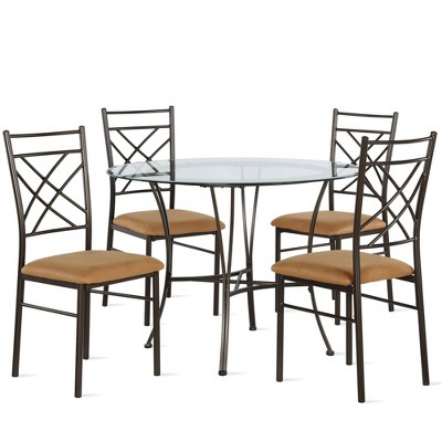 5pc Webb Glass Top Dining Set Bronze - Dorel Living