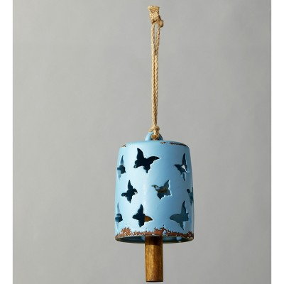 Lakeside Garden Rope Hanging Ceramic Bell with Wooden Clapper