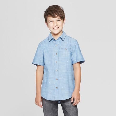 2641c5c24eed6 Boys  Short Sleeve Dotted Button-Down Shirt - Cat   Jack™ Blue XXL ...