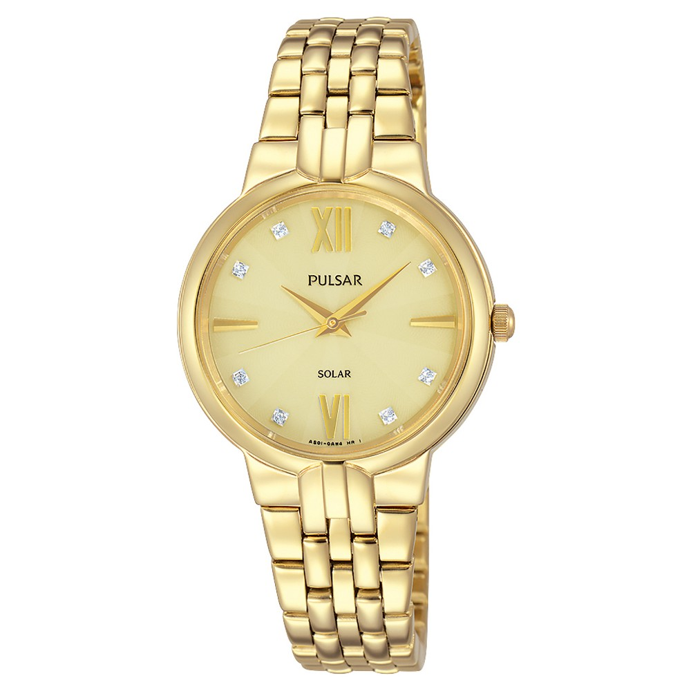 Women's Pulsar Solar with Swarovski Crystal Accents - Gold Tone PY5026