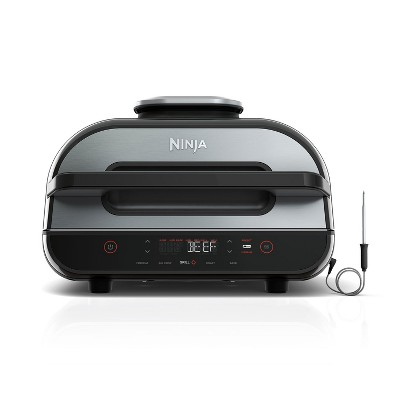 Ninja Foodi FG550 Smart XL 4 in 1 Indoor Stainless Steel Electric Grill with 4 Quart Air Fryer and Smart Cook System for Baking and Roasting (Renewed)