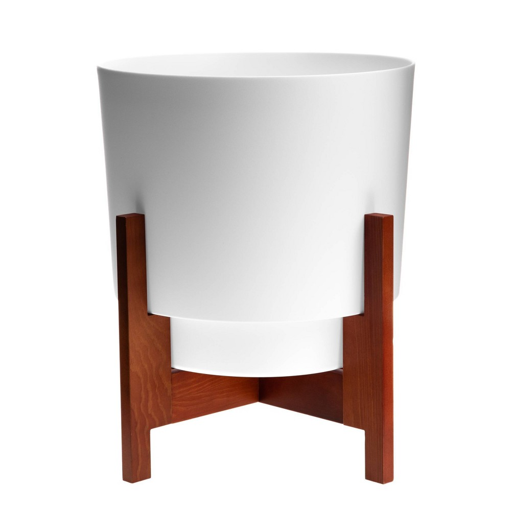 Hopson Planter With 10 34 Wood Stand White Bloem